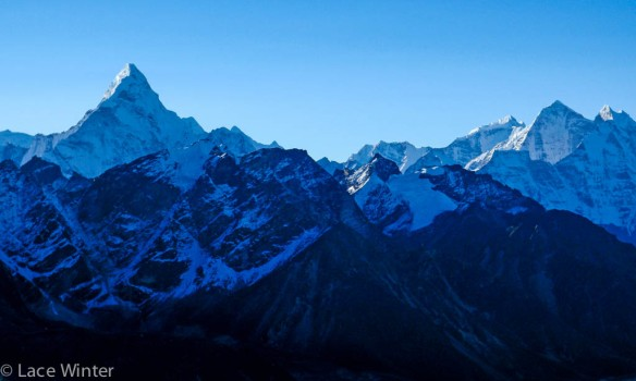 Ama Dablam and Kangtega in the Solukhumbu range of the Himalaya
